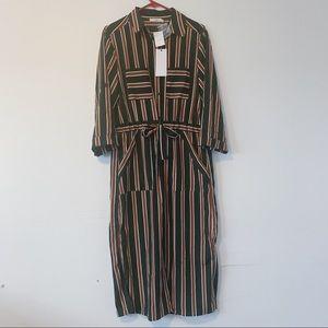 NWT Lush Stiped Midi Dress w/ Pockets Sz M